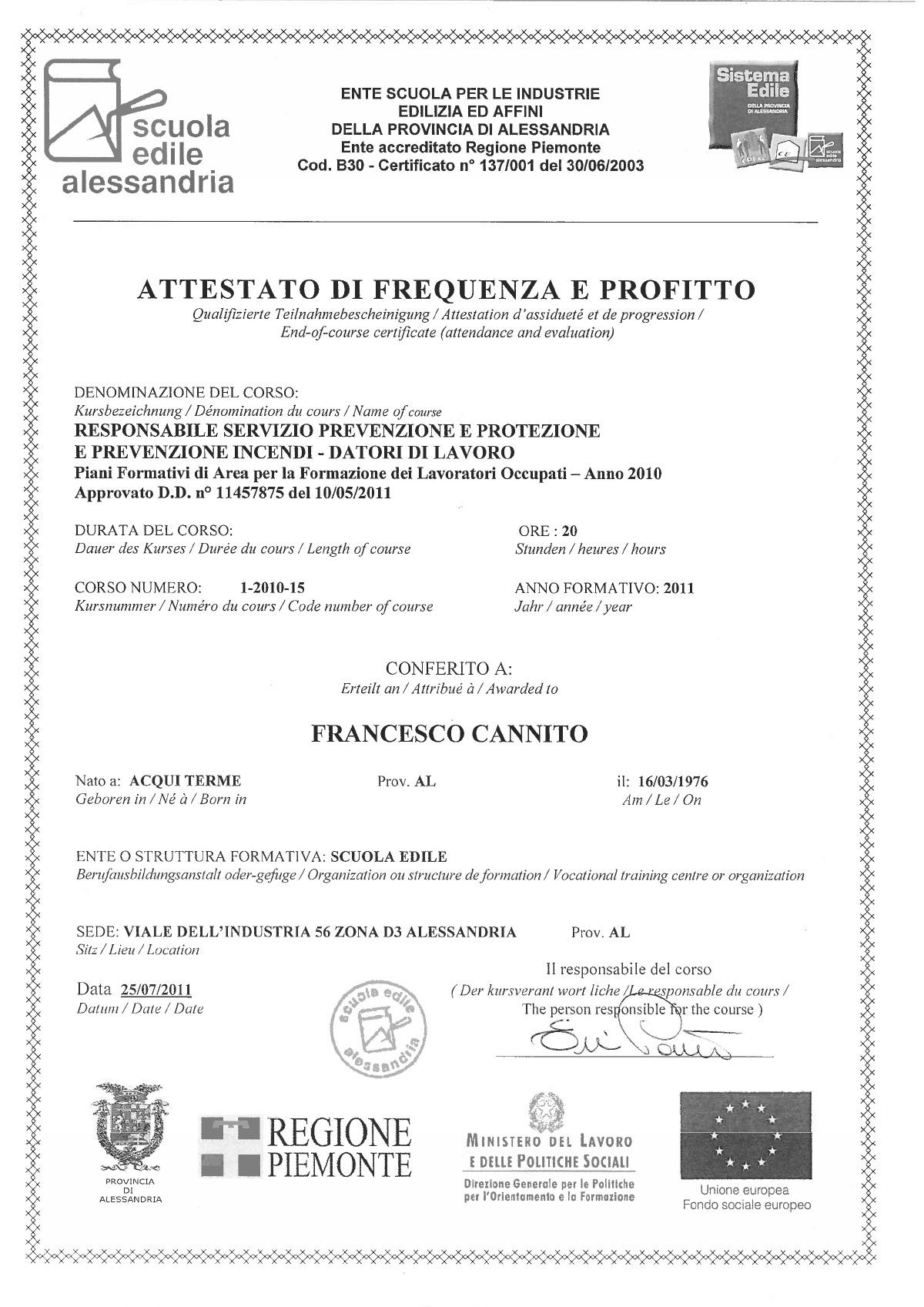 Attestato RSPP 2012
